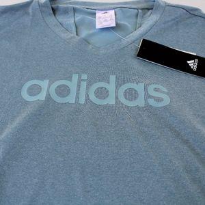 NWT Adidas Woman's V-Neck Tee Shirt sz XL blue